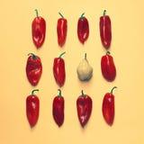 套整洁地被安排的明亮的胡椒和一个梨在黄色背景 图库摄影