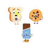 套从多士的滑稽的字符,饼干,巧克力 库存图片