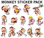 套猴子贴纸用不同的岗位 库存照片
