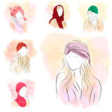 套头巾的六名剪影妇女 免版税图库摄影