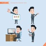 套画平的字体,企业概念英俊的办公室工作者活动-介绍,好标志,故障检修员 免版税库存图片