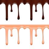 套水平的无缝的滴水釉 巧克力和桃红色污点在白色背景 向量例证