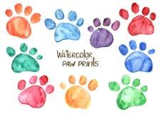 套水彩动物脚印 向量例证