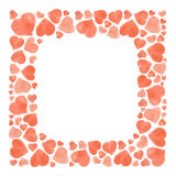套水彩心脏 在白色背景隔绝的手拉各种各样 婚礼或华伦泰的模板 免版税库存照片