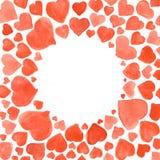套水彩心脏 在白色背景隔绝的手拉各种各样 婚礼或华伦泰的模板 免版税图库摄影