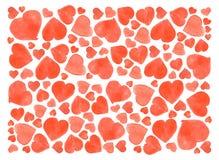 套水彩心脏 在白色背景隔绝的手拉各种各样 婚礼或华伦泰的模板 图库摄影