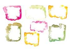 套水彩框架传染媒介水彩框架或卡片的刷子设计 库存照片