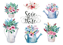 套水彩花束 在罐的春天花 土气 免版税库存图片