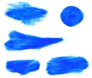 套水彩蓝色刷子冲程 免版税库存照片