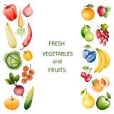 套水彩蔬菜和水果 免版税库存图片
