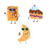 套从新月形面包,比利时华夫饼干,蛋糕的滑稽的字符 免版税库存照片