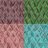 套4无缝的样式 现代时髦的纹理 重复有绿色,蓝色的几何瓦片,伯根地和桃红色镶边菱形 向量例证