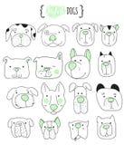 套16条逗人喜爱的狗乱画 剪影狗 库存图片