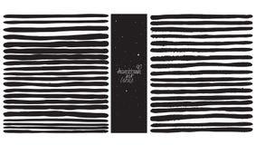 套40条重线,做用手和液体墨水,徒手画, ornated,与飞溅,斑点,刷子一滴 黑白的传染媒介 免版税库存图片