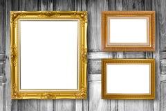 套画框 照片在木葡萄酒的美术画廊 免版税库存照片