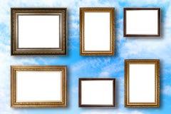 套画框 照片在蓝天的美术画廊 免版税库存图片