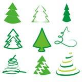 套9棵不同树 免版税库存图片