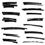 套黑油漆,墨水刷子冲程,刷子,线 免版税库存图片
