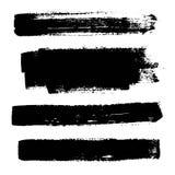 套黑油漆,墨水刷子冲程 免版税库存图片