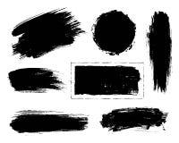 套黑油漆,墨水刷子冲程 库存图片
