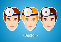 套医生的传染媒介例证 医生 mans的面孔 图标 平的象 简单派 风格化人 职业 工作 免版税图库摄影