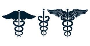 套医疗众神使者的手杖 免版税图库摄影