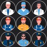 套医疗,火和警署的平的圆的具体化 向量例证