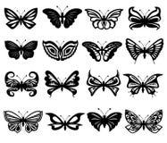 套黑白蝴蝶 免版税库存图片
