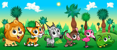 套滑稽的动物在森林里 免版税库存图片