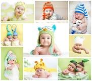 套滑稽的婴孩或孩子在帽子weared 免版税库存照片