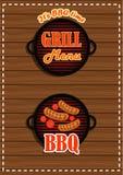 套贴纸格栅菜单;BBQ设施 库存图片