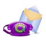 套紫罗兰色电话和蓝色邮件 免版税图库摄影