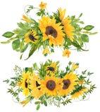 套2美丽的手画水彩向日葵花束 免版税图库摄影