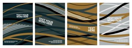 套4背景、海报或者盖子的d抽象波浪线 向量例证