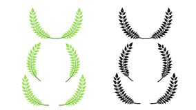 套绿色和黑剪影通报月桂树 免版税库存图片