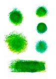套绿色油漆弄污和冲程 艺术性的设计要素 免版税库存图片
