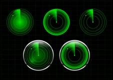 套绿色雷达传染媒介例证 库存图片