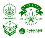 套绿色医疗大麻象征,商标 经典vintege 免版税库存照片