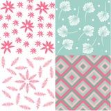 套4花卉无缝的织品样式 库存图片