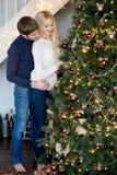 套头衫的装饰圣诞树的恋人愉快的夫妇  免版税库存照片