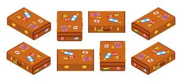 套说谎的棕色旅客手提箱 图库摄影