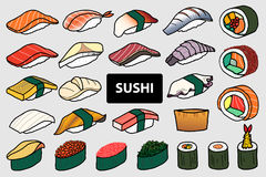 套25隔绝了五颜六色的寿司和卷 逗人喜爱的日本食物h 皇族释放例证