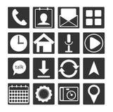 套16黑白色平的机动性app象 为网发展、机器人和mo概述按钮标志 图库摄影