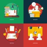 套读,讲话,写和语言课的平的设计例证概念 教育和知识想法 库存照片