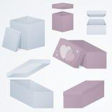 套3d包装在不同的观点和形状, 3d,梯度,例证的礼物盒 库存图片