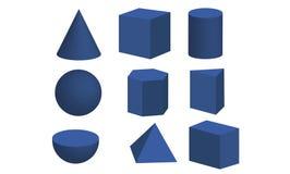 套3d基本的几何形状 向量例证