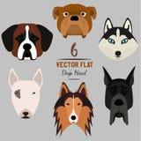 套6 dog& x27; s头 平的设计 宠物 逗人喜爱的小狗 向量例证