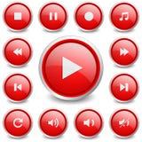 套13个音乐和录影按钮 库存图片