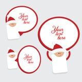 套3红色和白色圣诞节标签 免版税库存照片
