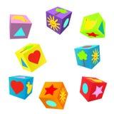 套3D五颜六色的幼稚作用多维数据集 免版税库存照片
